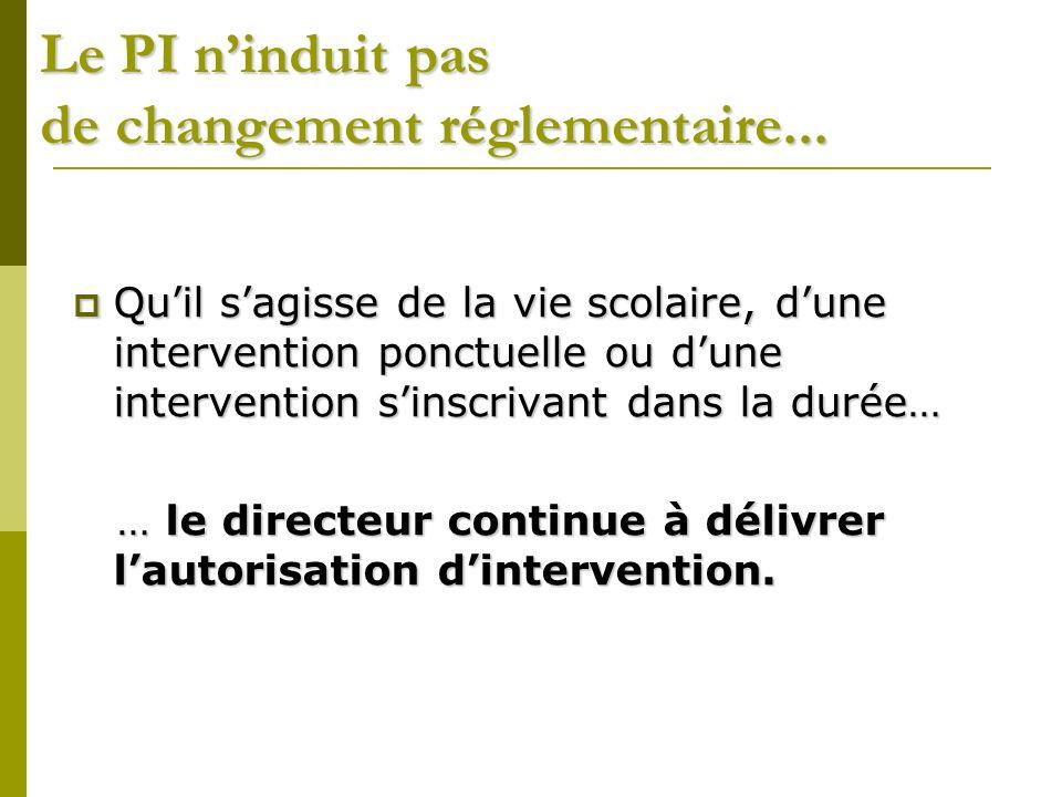 Le PI ninduit pas de changement réglementaire...