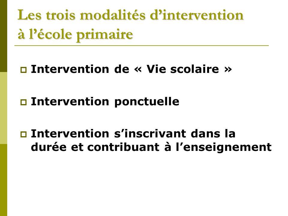Les trois modalités dintervention à lécole primaire Intervention de « Vie scolaire » Intervention ponctuelle Intervention sinscrivant dans la durée et contribuant à lenseignement