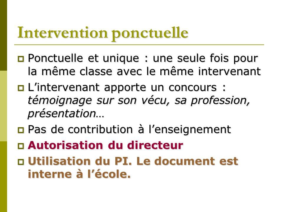 Intervention sinscrivant dans la durée et contribuant à lenseignement Lintervention a lieu plus dune fois pour la même classe avec le même intervenant.