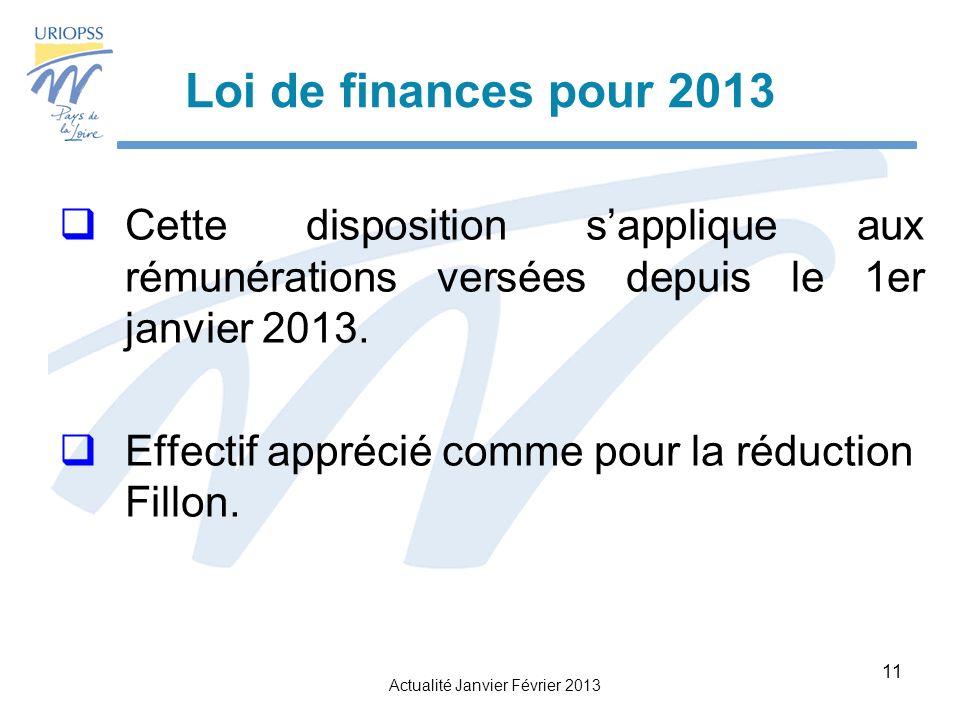 Actualité Janvier Février 2013 11 Loi de finances pour 2013 Cette disposition sapplique aux rémunérations versées depuis le 1er janvier 2013.