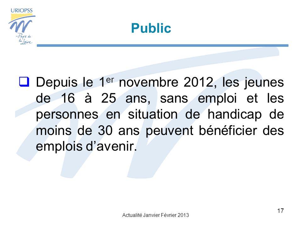 Actualité Janvier Février 2013 17 Public Depuis le 1 er novembre 2012, les jeunes de 16 à 25 ans, sans emploi et les personnes en situation de handicap de moins de 30 ans peuvent bénéficier des emplois davenir.