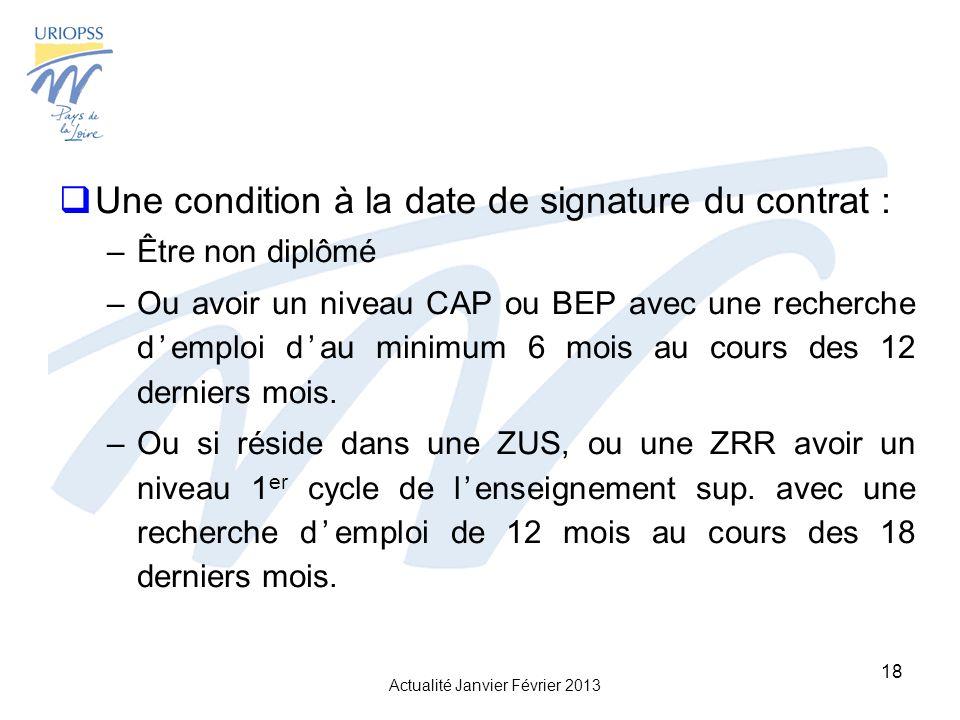 Actualité Janvier Février 2013 18 Une condition à la date de signature du contrat : –Être non diplômé –Ou avoir un niveau CAP ou BEP avec une recherche demploi dau minimum 6 mois au cours des 12 derniers mois.