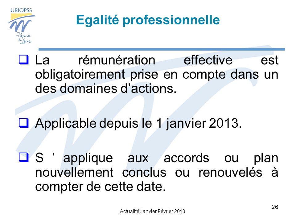 Actualité Janvier Février 2013 26 Egalité professionnelle La rémunération effective est obligatoirement prise en compte dans un des domaines dactions.