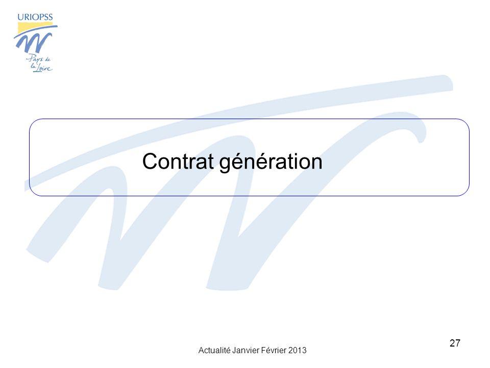 Actualité Janvier Février 2013 27 Contrat génération