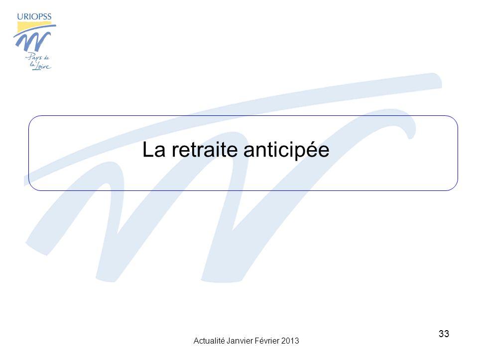 Actualité Janvier Février 2013 33 La retraite anticipée