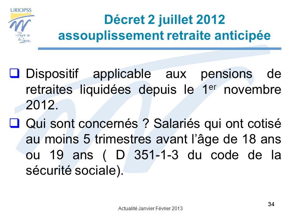 Actualité Janvier Février 2013 34 Décret 2 juillet 2012 assouplissement retraite anticipée Dispositif applicable aux pensions de retraites liquidées depuis le 1 er novembre 2012.