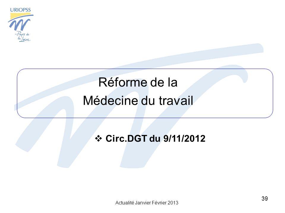 Actualité Janvier Février 2013 39 Réforme de la Médecine du travail Circ.DGT du 9/11/2012