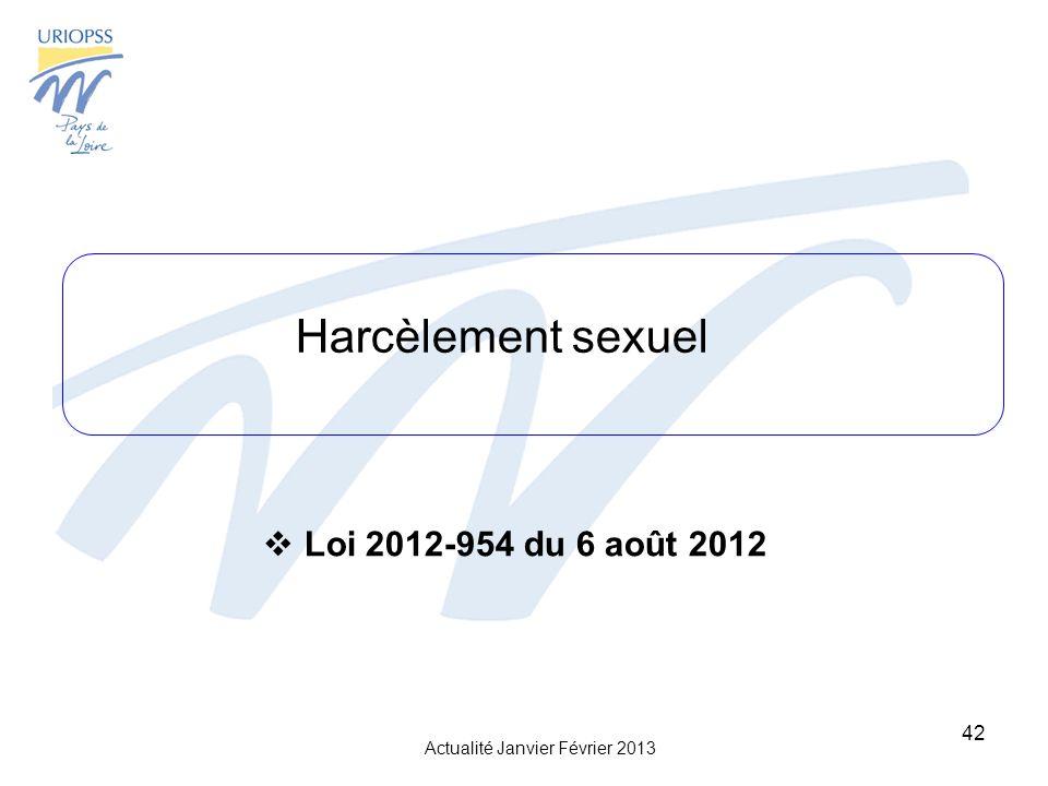 Actualité Janvier Février 2013 42 Harcèlement sexuel Loi 2012-954 du 6 août 2012