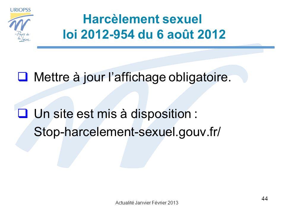 Actualité Janvier Février 2013 44 Harcèlement sexuel loi 2012-954 du 6 août 2012 Mettre à jour laffichage obligatoire.
