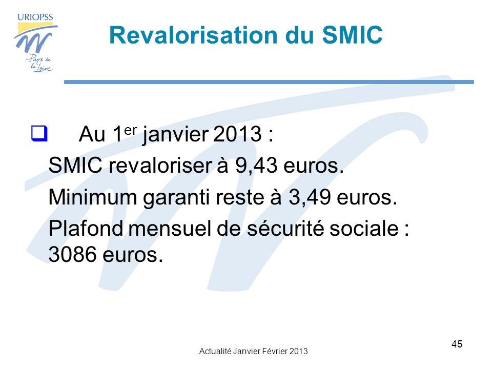 Actualité Janvier Février 2013 45 Revalorisation du SMIC Au 1 er janvier 2013 : SMIC revaloriser à 9,43 euros.
