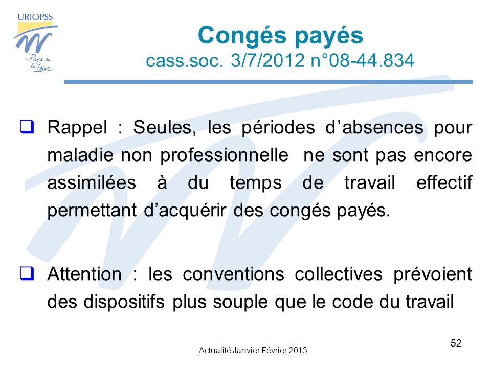 Actualité Janvier Février 2013 52 Congés payés cass.soc.