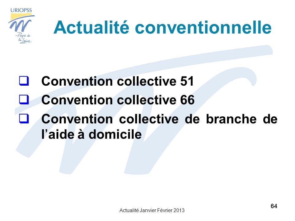 Actualité Janvier Février 2013 64 Actualité conventionnelle Convention collective 51 Convention collective 66 Convention collective de branche de laide à domicile 64