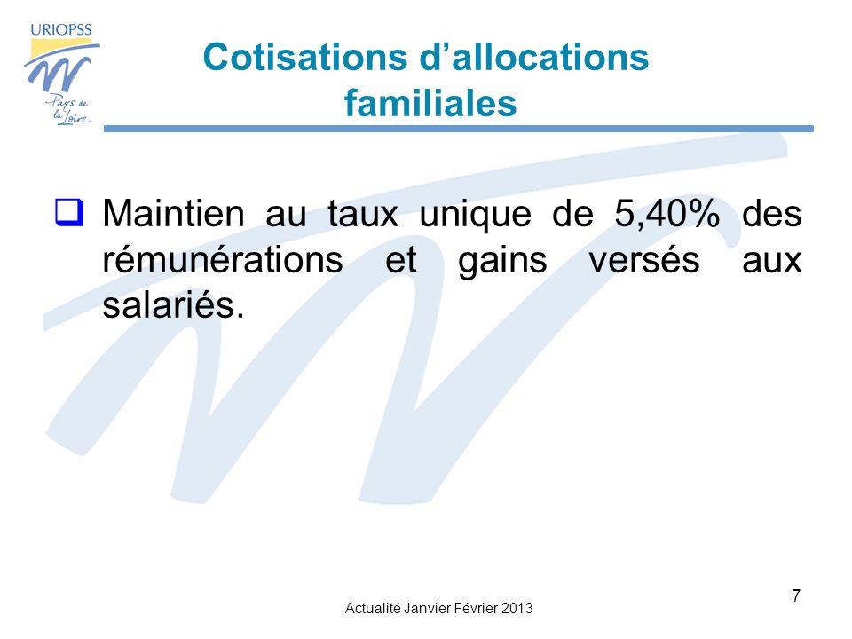 Actualité Janvier Février 2013 7 Cotisations dallocations familiales Maintien au taux unique de 5,40% des rémunérations et gains versés aux salariés.