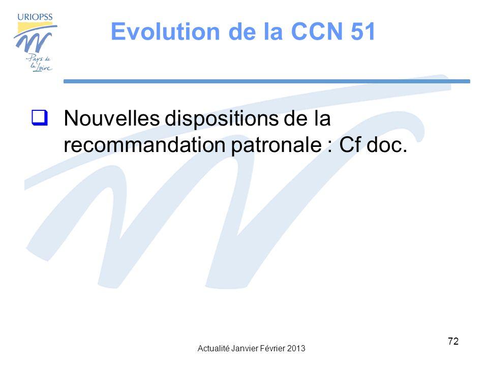 Actualité Janvier Février 2013 72 Evolution de la CCN 51 Nouvelles dispositions de la recommandation patronale : Cf doc.