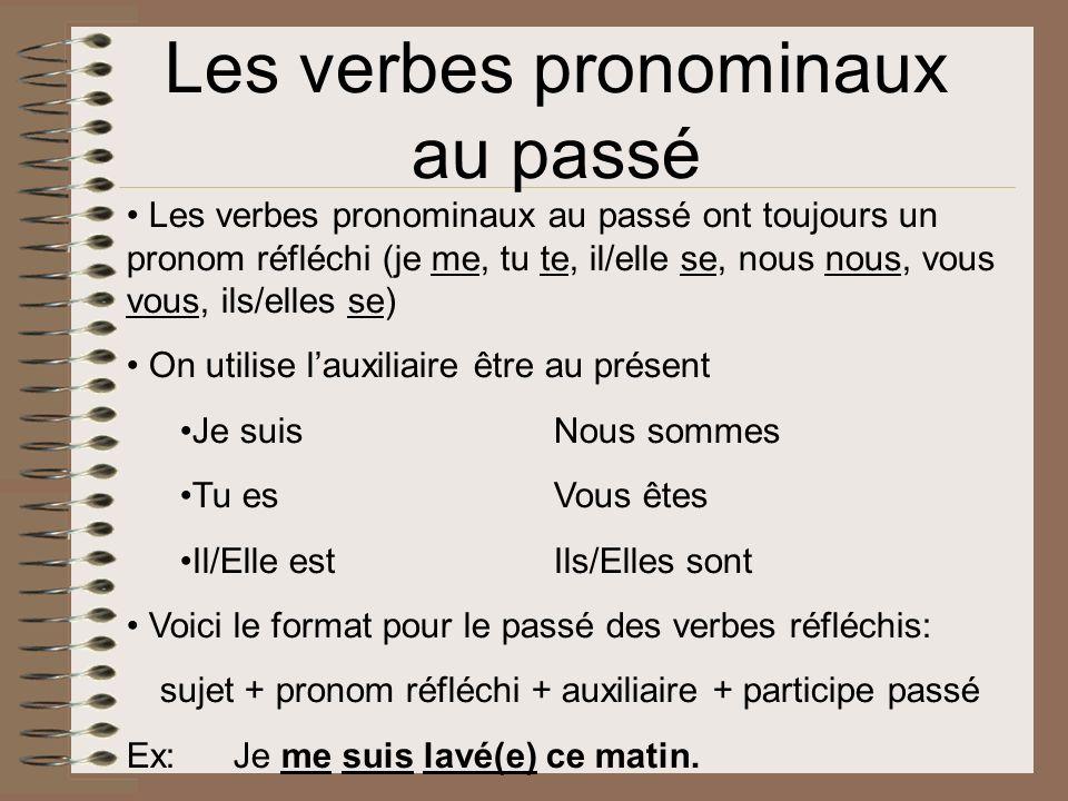Les verbes pronominaux au passé Les verbes pronominaux au passé ont toujours un pronom réfléchi (je me, tu te, il/elle se, nous nous, vous vous, ils/e