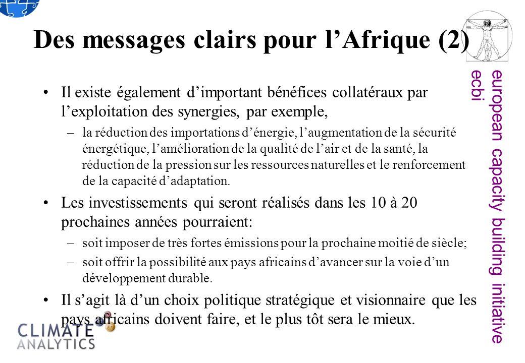 european capacity building initiativeecbi Des messages clairs pour lAfrique (2) Il existe également dimportant bénéfices collatéraux par lexploitation