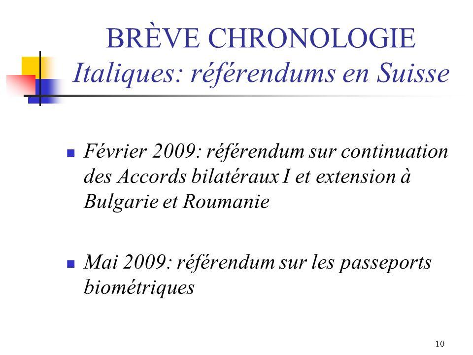 10 BRÈVE CHRONOLOGIE Italiques: référendums en Suisse Février 2009: référendum sur continuation des Accords bilatéraux I et extension à Bulgarie et Ro