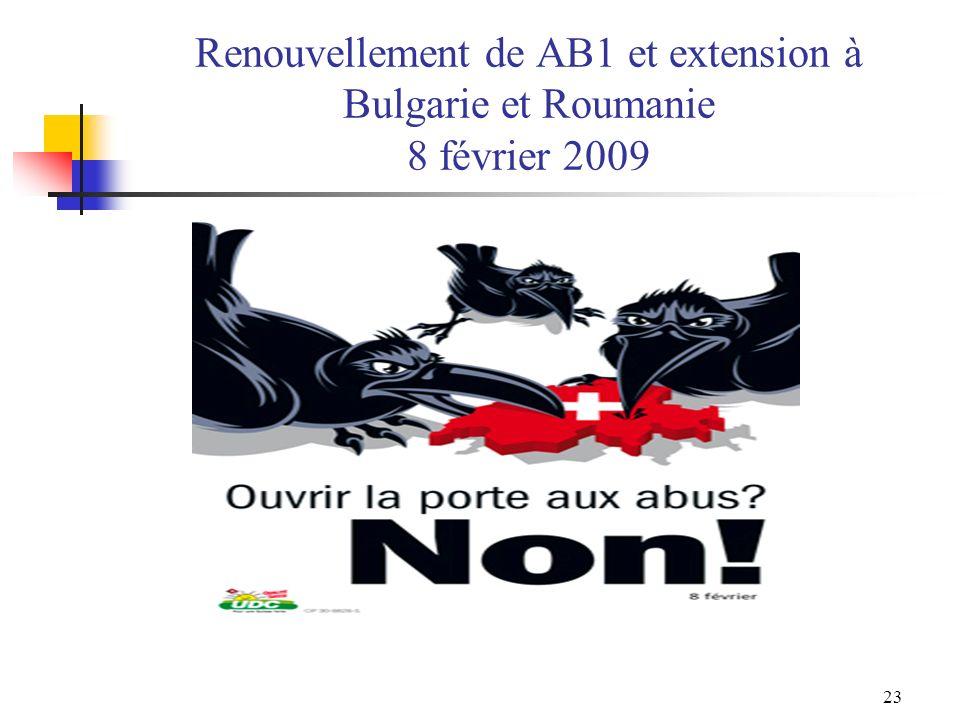 23 Renouvellement de AB1 et extension à Bulgarie et Roumanie 8 février 2009