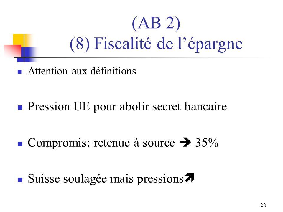28 (AB 2) (8) Fiscalité de lépargne Attention aux définitions Pression UE pour abolir secret bancaire Compromis: retenue à source 35% Suisse soulagée