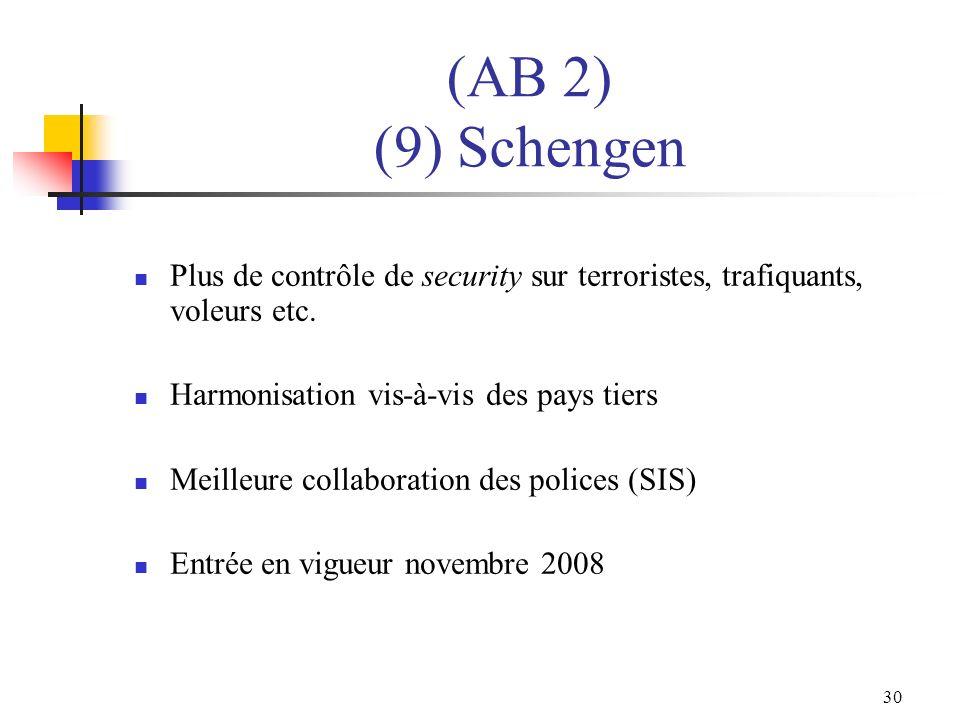 30 (AB 2) (9) Schengen Plus de contrôle de security sur terroristes, trafiquants, voleurs etc. Harmonisation vis-à-vis des pays tiers Meilleure collab