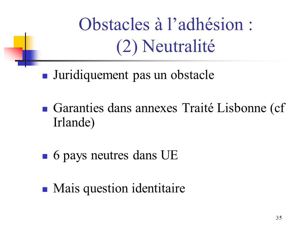 35 Obstacles à ladhésion : (2) Neutralité Juridiquement pas un obstacle Garanties dans annexes Traité Lisbonne (cf Irlande) 6 pays neutres dans UE Mai