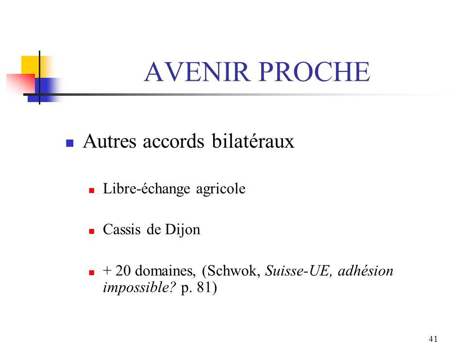 41 AVENIR PROCHE Autres accords bilatéraux Libre-échange agricole Cassis de Dijon + 20 domaines, (Schwok, Suisse-UE, adhésion impossible? p. 81)