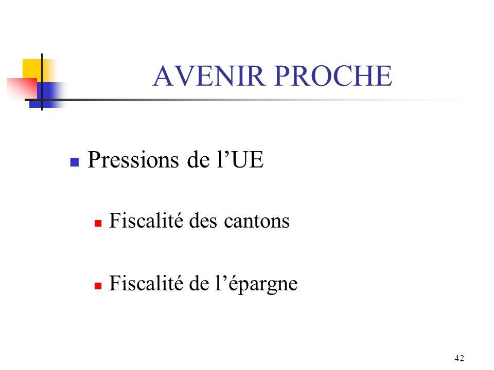 42 AVENIR PROCHE Pressions de lUE Fiscalité des cantons Fiscalité de lépargne