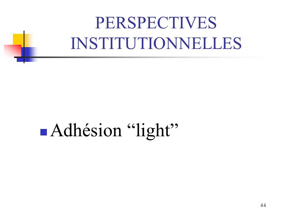 44 PERSPECTIVES INSTITUTIONNELLES Adhésion light