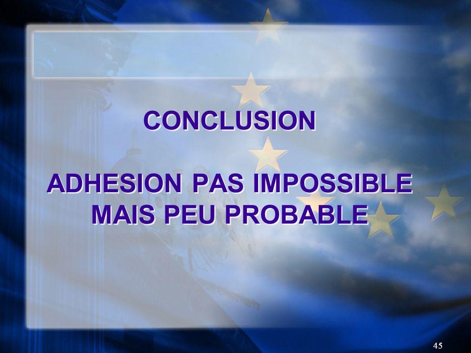 45 CONCLUSION ADHESION PAS IMPOSSIBLE MAIS PEU PROBABLE