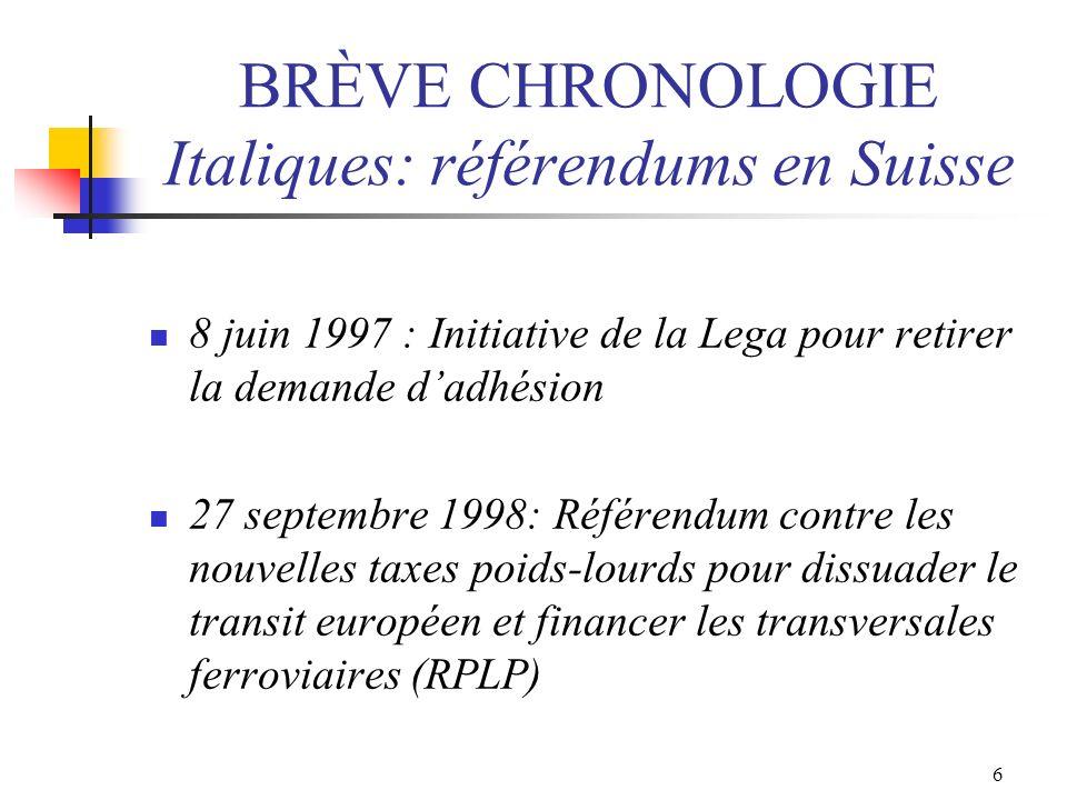 6 BRÈVE CHRONOLOGIE Italiques: référendums en Suisse 8 juin 1997 : Initiative de la Lega pour retirer la demande dadhésion 27 septembre 1998: Référend