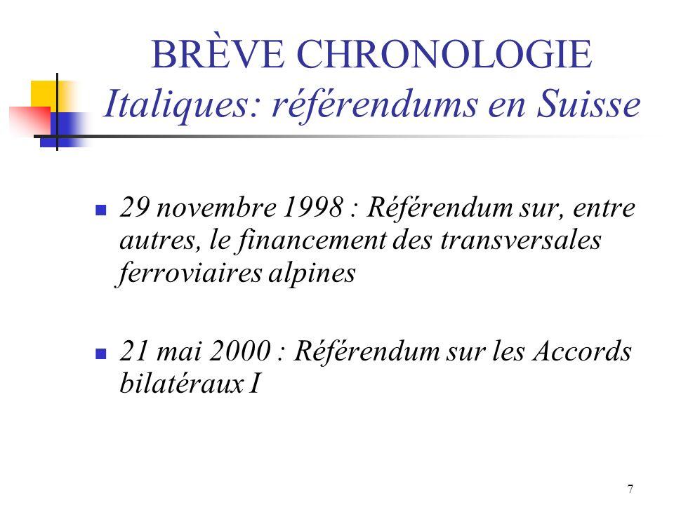 8 BRÈVE CHRONOLOGIE Italiques: référendums en Suisse 4 mars 2001 : Initiative du NOMES pour ouvrir des négociations dadhésion 1 er juin 2002: Entrée en vigueur des Accords bilatéraux I 5 juin 2005 : Référendum sur Schengen