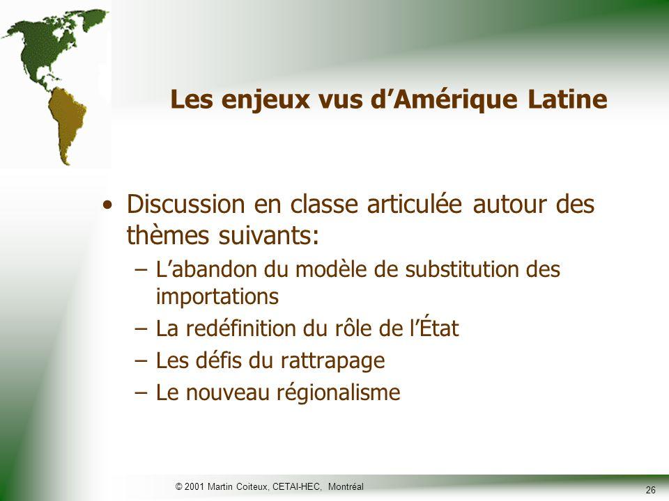 © 2001 Martin Coiteux, CETAI-HEC, Montréal 26 Les enjeux vus dAmérique Latine Discussion en classe articulée autour des thèmes suivants: –Labandon du