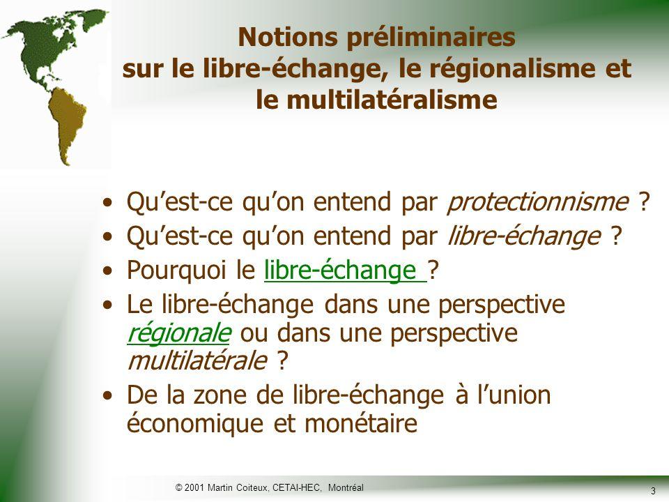 © 2001 Martin Coiteux, CETAI-HEC, Montréal 4 Largument traditionnel en faveur du libre-échange Efficacité (obtenir le maximum à moindre coût) –Comme individus, nous nessayons pas de produire lensemble des biens et services dont nous avons besoin.
