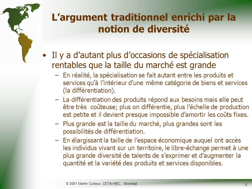 © 2001 Martin Coiteux, CETAI-HEC, Montréal 6 Les bienfaits présumés du libre- échange ne sont toutefois pas gratuits Plus les marchés sont ouverts –Plus la concurrence est vive –Plus notre bien-être dépend de décisions prises par dautres.