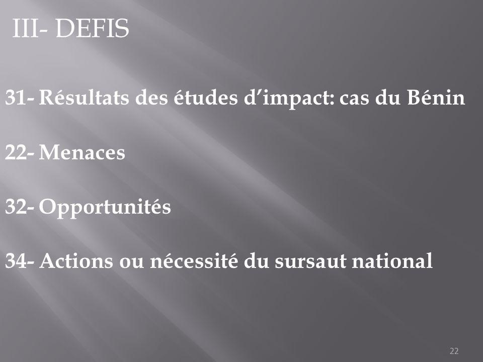22 III- DEFIS 31- Résultats des études dimpact: cas du Bénin 22- Menaces 32- Opportunités 34- Actions ou nécessité du sursaut national