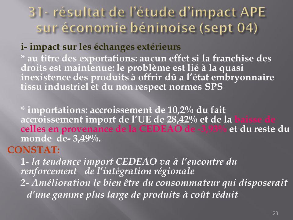 i- impact sur les échanges extérieurs * au titre des exportations: aucun effet si la franchise des droits est maintenue: le problème est lié à la quas