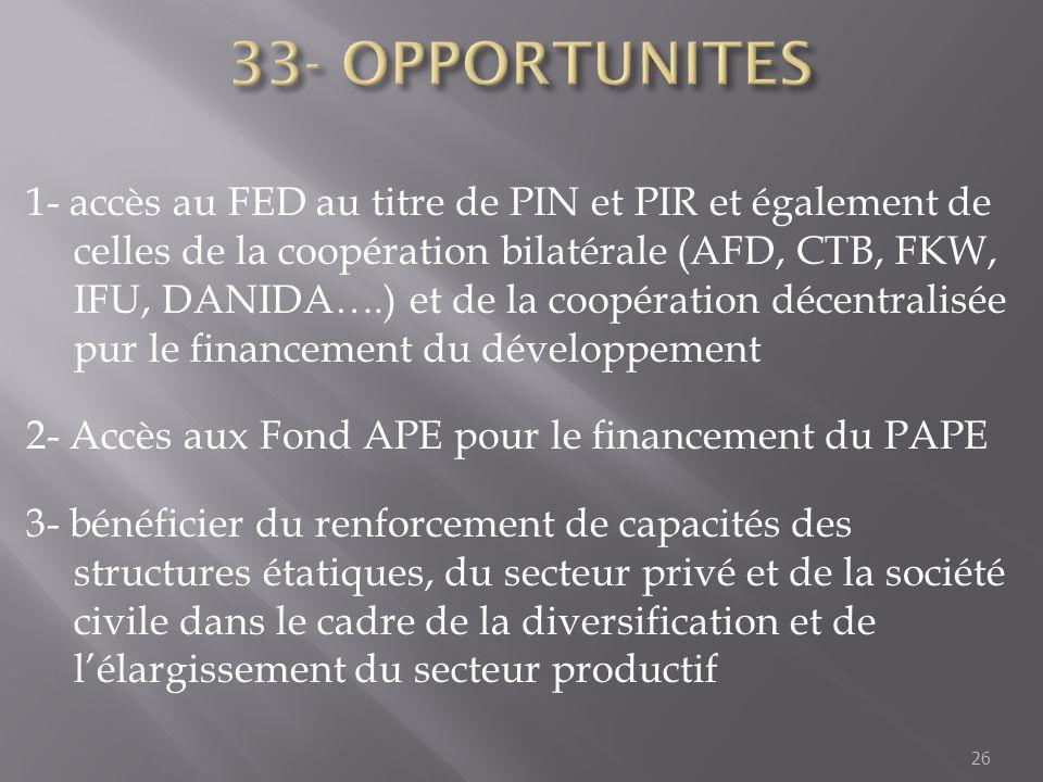 1- accès au FED au titre de PIN et PIR et également de celles de la coopération bilatérale (AFD, CTB, FKW, IFU, DANIDA….) et de la coopération décentr