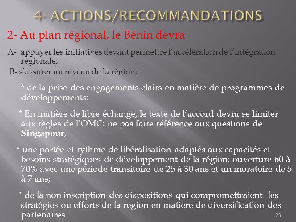 2- Au plan régional, le Bénin devra A- appuyer les initiatives devant permettre laccélération de lintégration régionale; B- sassurer au niveau de la r