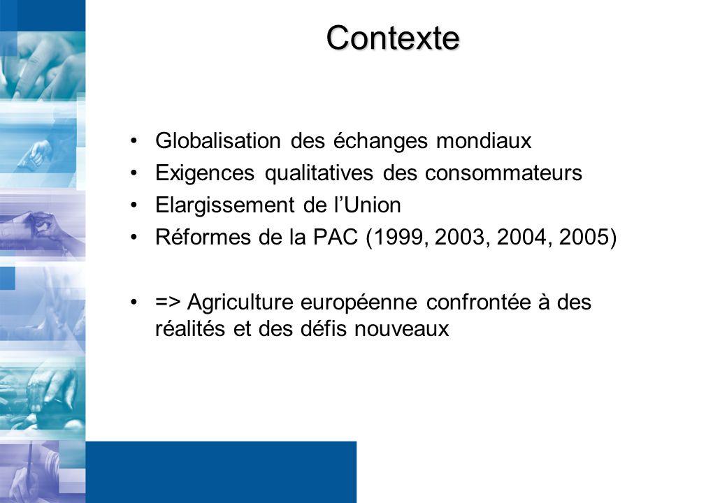 Contexte Globalisation des échanges mondiaux Exigences qualitatives des consommateurs Elargissement de lUnion Réformes de la PAC (1999, 2003, 2004, 2005) => Agriculture européenne confrontée à des réalités et des défis nouveaux