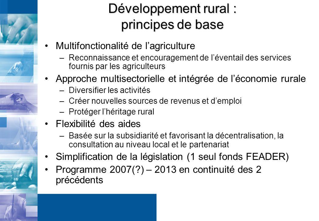Développement rural : principes de base Multifonctionalité de lagriculture –Reconnaissance et encouragement de léventail des services fournis par les agriculteurs Approche multisectorielle et intégrée de léconomie rurale –Diversifier les activités –Créer nouvelles sources de revenus et demploi –Protéger lhéritage rural Flexibilité des aides –Basée sur la subsidiarité et favorisant la décentralisation, la consultation au niveau local et le partenariat Simplification de la législation (1 seul fonds FEADER) Programme 2007( ) – 2013 en continuité des 2 précédents