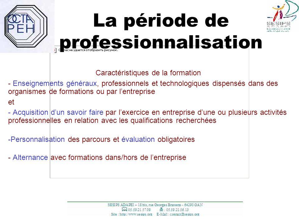 15 La période de professionnalisation Caractéristiques de la formation - Enseignements généraux, professionnels et technologiques dispensés dans des o