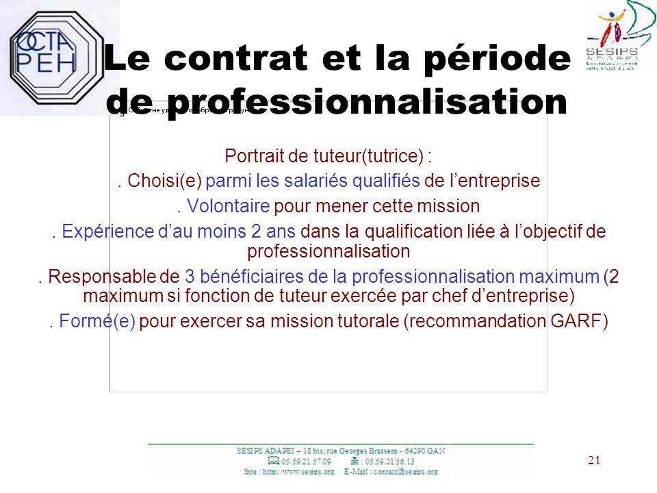 21 Le contrat et la période de professionnalisation Portrait de tuteur(tutrice) :. Choisi(e) parmi les salariés qualifiés de lentreprise. Volontaire p