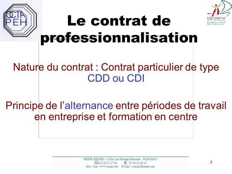 5 5 Le contrat de professionnalisation Nature du contrat : Contrat particulier de type CDD ou CDI Principe de lalternance entre périodes de travail en