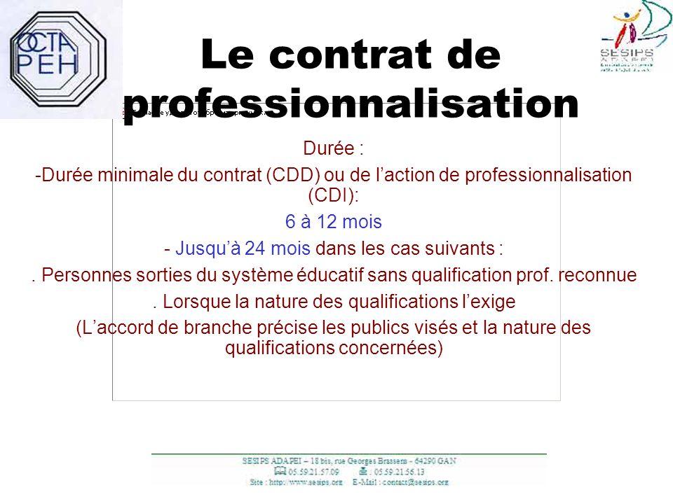 6 Le contrat de professionnalisation Durée : -Durée minimale du contrat (CDD) ou de laction de professionnalisation (CDI): 6 à 12 mois - Jusquà 24 moi