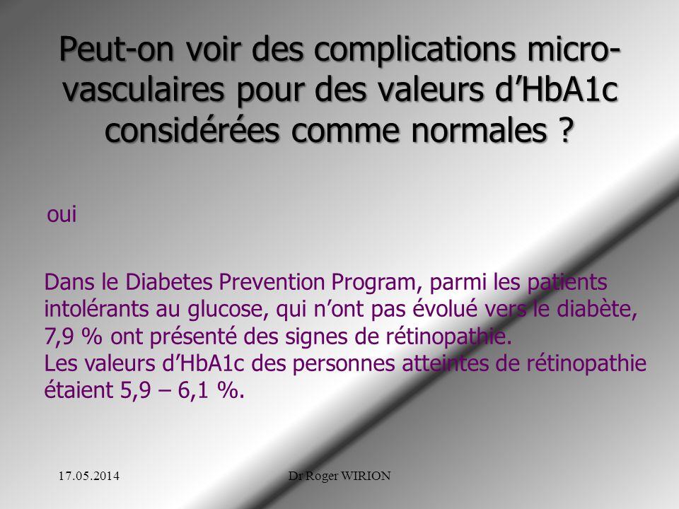 Peut-on voir des complications micro- vasculaires pour des valeurs dHbA1c considérées comme normales ? oui Dans le Diabetes Prevention Program, parmi