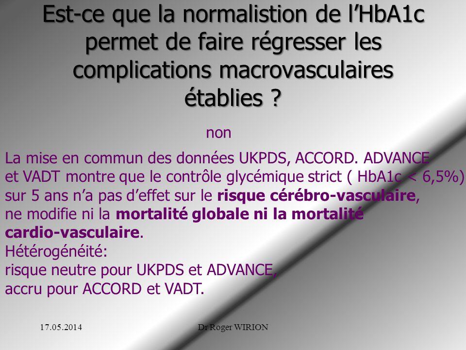 Est-ce que la normalistion de lHbA1c permet de faire régresser les complications macrovasculaires établies ? 17.05.2014Dr Roger WIRION non La mise en