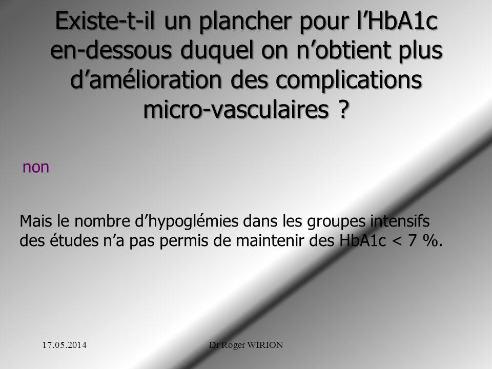 Existe-t-il un plancher pour lHbA1c en-dessous duquel on nobtient plus damélioration des complications micro-vasculaires ? non Mais le nombre dhypoglé