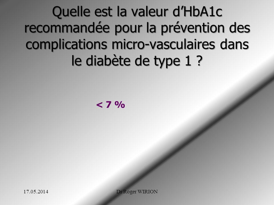 Quelle est la valeur dHbA1c recommandée pour la prévention des complications micro-vasculaires dans le diabète de type 1 ? < 7 % 17.05.2014Dr Roger WI