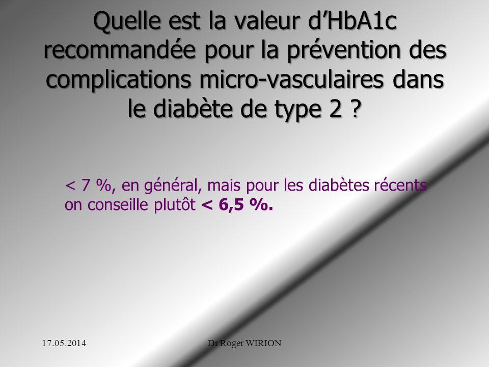 Quelle est la valeur dHbA1c recommandée pour la prévention des complications micro-vasculaires dans le diabète de type 2 ? < 7 %, en général, mais pou