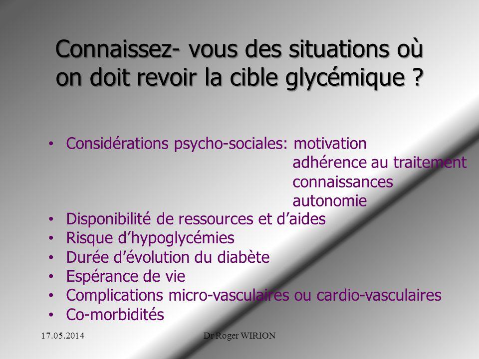Connaissez- vous des situations où on doit revoir la cible glycémique ? Considérations psycho-sociales: motivation adhérence au traitement connaissanc